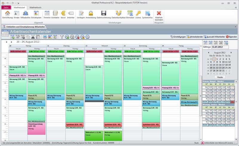 Dienstzeiten mit eigenen Kategorien detailliert planen