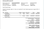 Das erstellte Rechnungsdokument für die SEPA-Lastschrift